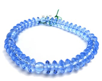 Blue Quartz Crystal Flat Breads Bracelet Japanese Juzu Rosary Prayer beads Bracelet Jewel Handmade in Kyoto Cool Asia Buddhism Zen UDA31