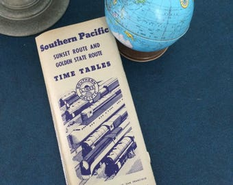 "Vintage ""The Southern Pacific Lines"" Routes Railway Train Timetables Brochure Advertising September 28th, 1941"