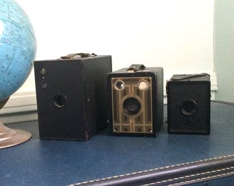 Instant Collection of 3 Kodak Brownie Cameras Circa 1920's Brownie 2A, Brownie Jr 6-20, Agfa A-8 Cadet Home Decor
