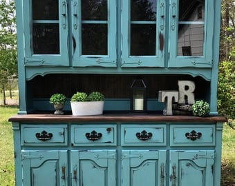 SOLD...Turquoise Distressed Farmhouse Style Hutch ~ Cabinet ~