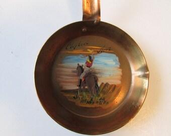 Vintage Clifton AZ  Copper Ashtray Arizona Souvenir