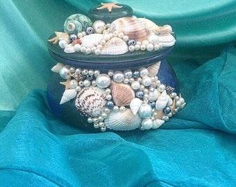 Mermaid inspired dressing table jar, shells, jewellery