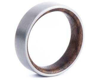 Walnut Wood With Titanium Ring: Natural Feel. Wedding And Engagement. For Men And Women. Custom Made.