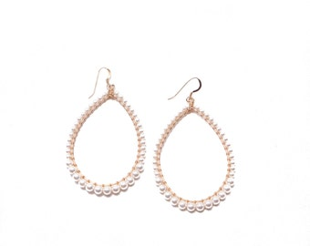 LARGE ALEXA EARRING * white pearl and gold filled wrap earring