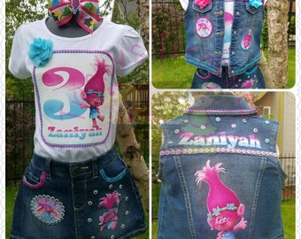 Denim Birthday Outfit, Denim Skirt, Denim Vest, Birthday Shirt, Birthday Vest, Blue Jean, Girls Birthday Outfit, Paw Patrol, Trolls, Art
