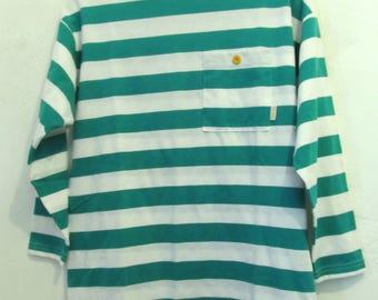 A Women's Vintage 80's,Striped Green& White Oversized NAUTICAL Top By HANG TEN.S