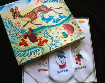 Christening Gift 1950's  Handkerchief Set forNew Baby gift Bambi theme box with the four seasons embroidered on Swiss linen.