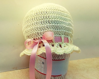 Crochet Pink Satin & Pearl Cloche Pattern ages 1-10 Year DIGITAL DOWNLOAD ONLY