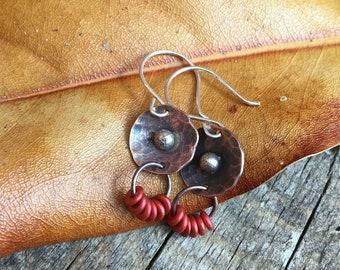 Minimalist Earrings, Copper Earrings, Beaded Earrings, Hammered Copper Jewelry, Copper Earrings