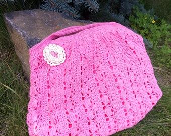 Small handbag Pink bag Pink crochet bag  Hand Knitting bag Crochet Pouch Crochet tote Colorful Handbag Shabby bag Handmade bag Gift for girl