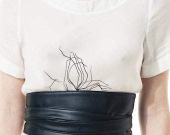 Black eco leather kimono type belt