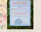 Medically Fragile Baby Child Door Sign Special Needs Simple Elephant Design Sign | Version 1