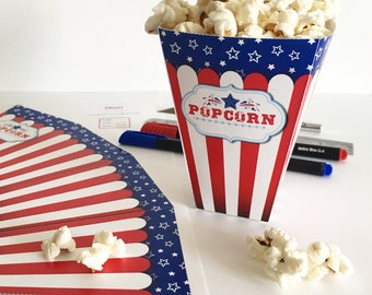 4th of july party, Printable 4th of July party decor, July 4th Popcorn box template, Printable popcorn box for 4th of july party decorations