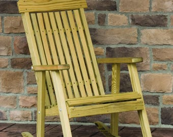 Unfinished Pressure Treated Pine Highback Porch Rocking Chair - Model#LUXPR - Amish Made in the USA - Free Shipping!