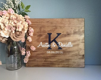 Rustic Wedding Guest Book Alternative /Original Initial Design/ Painted Rustic Wedding Decor Wood Guest Book Sign In Country Wedding Gift