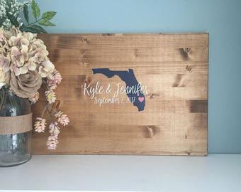 Rustic Wedding Guest Book Alternative /State Guestbook Heart Guestbook / Painted Rustic Wedding Decor Wedding Guest Book Wedding Gift