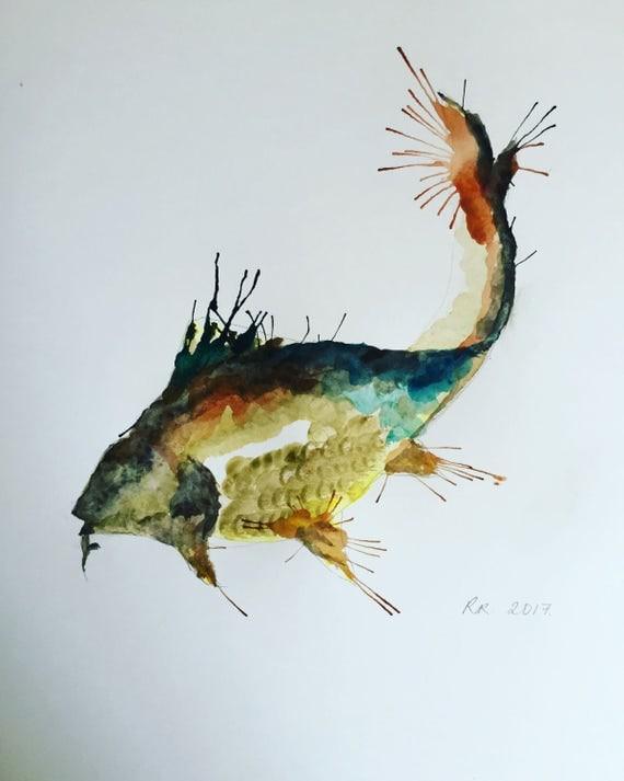 A3 Carp Watercolour Print