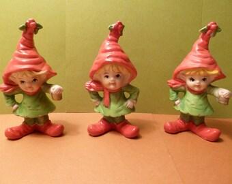 Elf Trio Figurines, Made in Taiwan, Vintage