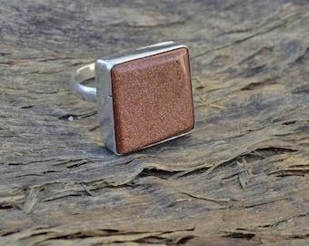 Cushion Shape Red Sun Sitara Gemstone 925 Sterling silver Ring ,  Golden Sun Stone Ring Size 8