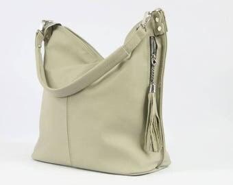 Beige LEATHER HOBO BAG - Everyday Leather Shoulder Bag