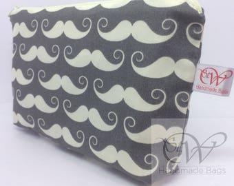 Cream Moustache on Grey Small Make Up Bag or Moustache/Beard Maintenance Kit Bag