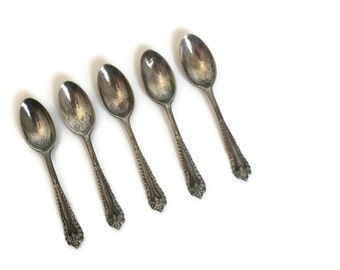 Sterling Silver Demitasse Spoons London 1912-1922 Josiah Williams Co Set of 5