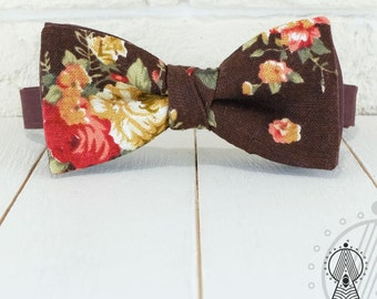 Bow Tie Boho style, Bowtie brown, Boho chic bow tie, Linen bow tie