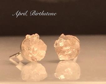 Raw Herkimer Diamond Earrings/Raw Crystal Silver Earrings./Natural Organic Crystal Earrings/Healing Crystal Stud Earrings/April Birthstone.