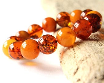Baltic amber bracelet, cognac antique color round amber beads, deluxe amber jewelry, natural Baltic amber,organic butterscotch amber beads