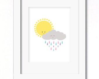 A4 sunshine on a rainy day print