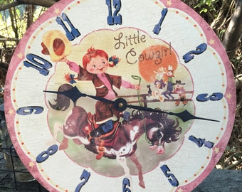 Timeworks Clock, Timeworks Cowgirl Wall Clock, Rare Clock, Childs Clock, Cowgirl Clock