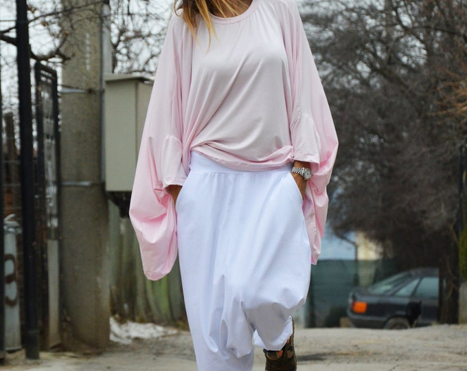 Women Baby Pink Loosetunic Top, Casual Cotton Shirt, Maxi Oversize Tunic, Long And Short Sleeves By Ssdfashion