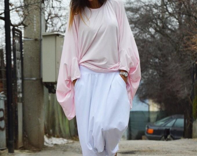 White Cotton Extravagant Pants, Woman Oversize Casual Pants, Drop Crotch Harem Pants, Maxi Pants by SSDfashion