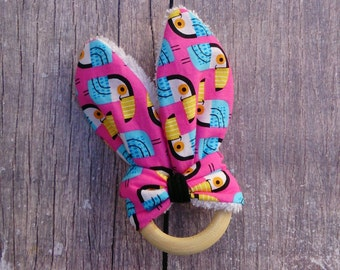 Teether wooden with fabric bunny ears