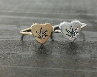 Cannabis Leaf Sweetheart Ring in Sterling silver or 14k Gold Filled, Hand Stamped Ring by The Toke Shop