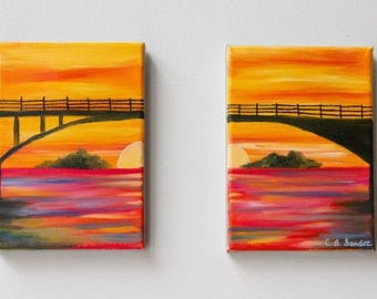 Sunset Painting, Multi-Panel Art, Living Room Wall Decor, Office Decor, Small Abstract Art, Original Artwork, Colorful Wall Art
