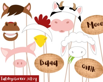 Barnyard Photobooth Props - Printable - Instant download - Farm Animals, Barn Props, party, Farm Photo Booth - barnyard photo booth - barn