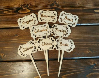 Garden Plant Herb Markers Labels  in Wooden Wood Burned. Great gift idea!