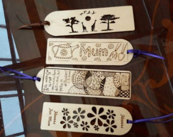 Laser cut and engraved bookmarks