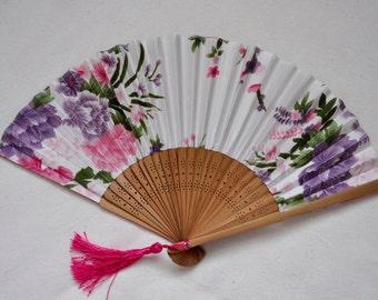 Peony White Hand Fan -Handheld Folding Fan, Japanese Hand Fan ,girls hand fan,folding fan