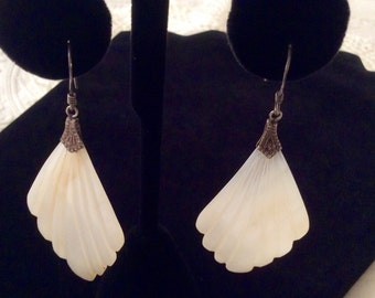 1970's Art Deco Revival Sterling Silver and Mother of Pearl Fan Earrings