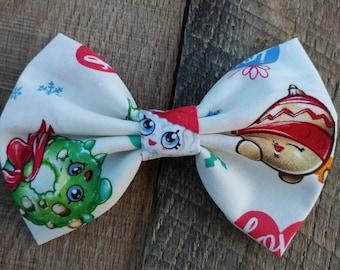 shopkins inspired bow, Shopkins inspired hair bow, girls hair bow, Christmas shopkins, shopkins, Christmas hair bow, Christians bow, SALE
