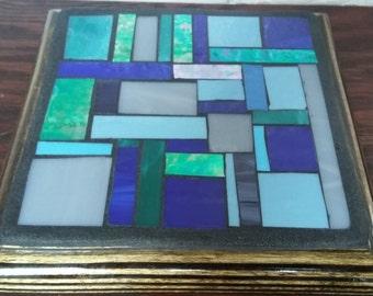 Trivet-mosaic -Sous-plats abstrait bleu en  mosaïque
