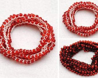 Beaded Wrap bracelet Red Beaded bracelet Goth bracelet Crochet bracelet gothic jewelry Beach bracelet bead wrap bracelet wrap bead bracelet