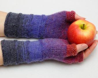 Fingerless Mittens Arm Warmers Knit Fingerless Gloves Girlfriend Gift for Her Winter Gloves Best friend Gift for women Blue Womens gift