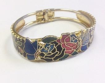 Vintage, cloisonné  enamel bangle or clamper bracelet, 1980s. Enamel butterfly and flower bracelet.