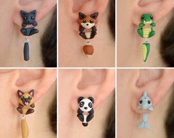 Animal earrings: Cat, fox, crocodile, dog, panda or dolphin. Select one single earring or a pair/set (2 in ''quantity'')