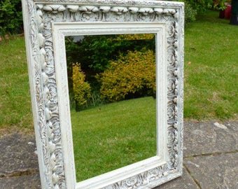 Mirror – Medium Sized Bevelled Mirror With an Upcycled and Decorative Shabby Chic White Frame