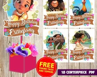 18 Moana centerpieces, Moana printable centerpieces, Moana party supplies, Moana birthday, Favors, decorations, Moana printable