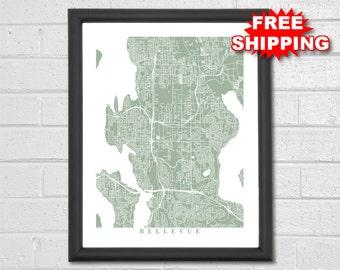 Bellevue Map Art - Map Print - Washington - Hometown - Custom Map - Personalized - City Map - Home Map - Birthday Gift - Housewarming
